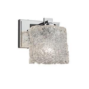 Veneto Luce - Era Polished Chrome One-Light Wall Sconce with Lace Venetian Glass