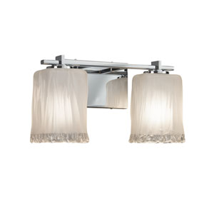 Veneto Luce - Era Polished Chrome Two-Light Bath Vanity with White Frosted Waterfall Venetian Glass