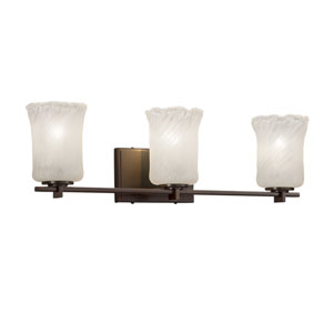 Veneto Luce - Era Dark Bronze Three-Light Bath Vanity with Whitewash Venetian Glass