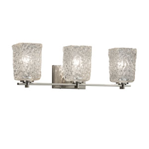Veneto Luce - Era Brushed Nickel Three-Light Bath Vanity with Clear Textured Venetian Glass