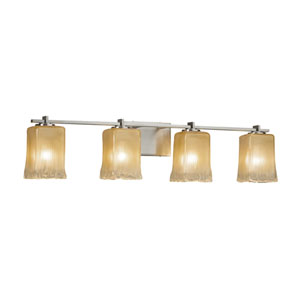 Veneto Luce - Era Brushed Nickel Four-Light LED Bath Vanity with Gold and Clear Rim Venetian Glass