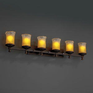 Veneto Luce Deco Six-Light Dark Bronze Bath Fixture