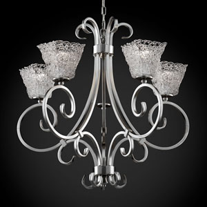 Veneto Luce Victoria Five-Uplight Brushed Nickel Chandelier