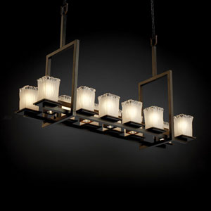 Veneto Luce Montana 12-Up and Five-Downlight Dark Bronze Tall Bridge Chandelier