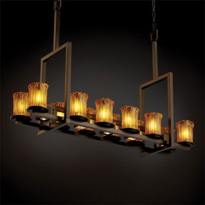 Veneto Luce Dakota 12-Up and Five-Downlight Dark Bronze Tall Bridge Chandelier