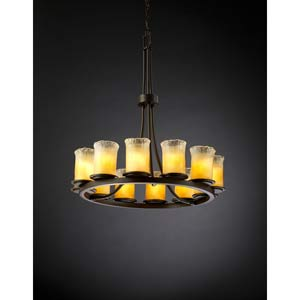 Dakota Dark Bronze and Gold Twelve-Light Ring Chandelier