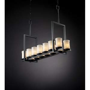 Dakota Matte Black and Whitewash Fourteen-Light Tall Bridge Chandelier