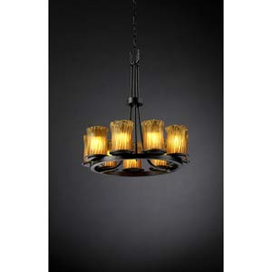 Dakota Matte Black and Amber Nine-Light Ring Chandelier