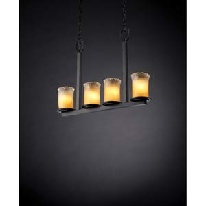 Dakota Matte Black and Gold Four-Light Bar Chandelier