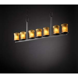 Dakota Dark Bronze and Amber Seven-Light Bar Chandelier