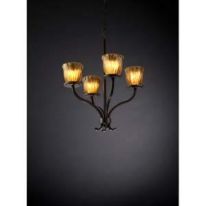 Sonoma Dark Bronze and Amber Four-Light Chandelier