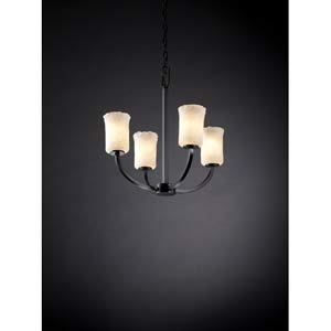 Arch Matte Black and Whitewash Four-Light Chandelier