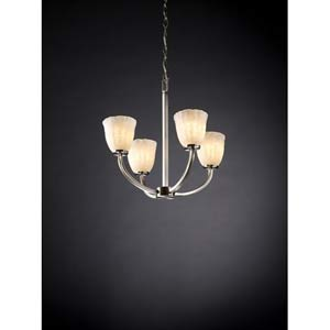 Arch Brushed Nickel and Whitewash Four-Light Chandelier