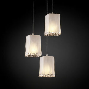 Veneto Luce Modular Three-Light Brushed Nickel Cluster Mini Pendant