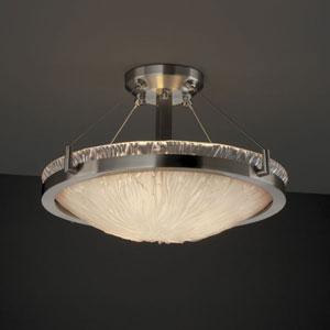 Veneto Luce Ring 18-Inch Three-Light Brushed Nickel Round Semi-Flush Bowl With Ring