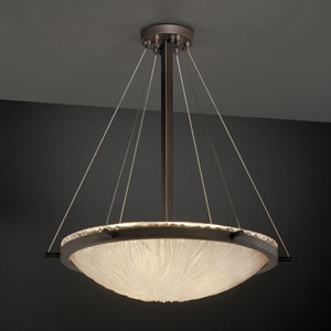 Veneto Luce Ring 24-Inch Six-Light Brushed Nickel Round Pendant Bowl With Ring