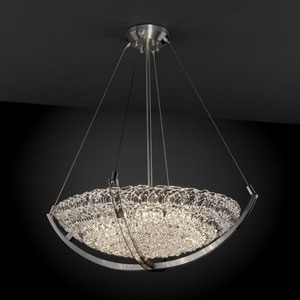 Veneto Luce Crossbar CrossbarSix-Light Brushed Nickel Pendant Bowl With Crossbar