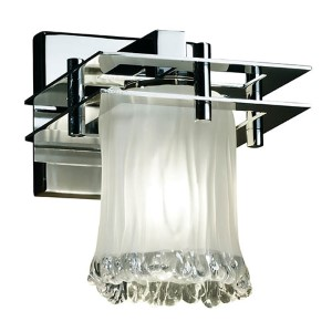 Veneto Luce Metropolis Polished Chrome One-Light Rippled Rim Cylindrical Wall Sconce with White Frosted Glass