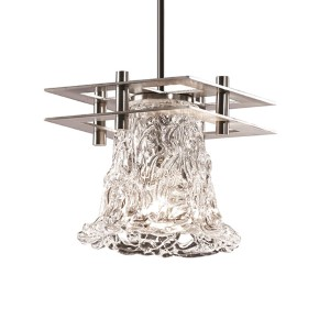 Veneto Luce Brushed Nickel One-Light Round Flared Mini Pendant with Two Flat Bar and Lace Glass