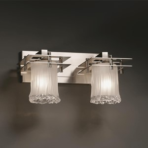 Veneto Luce Brushed Nickel Two-Light Bath Bar with White Frosted Glass