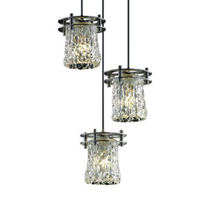 Veneto Luce™  Matte Black Three-Light Pendant with Clear Textured Glass