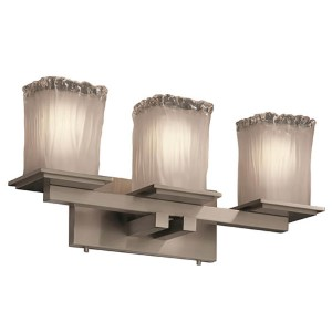 Veneto Luce Brushed Nickel Three-Light Bath Bar with White Frosted Glass