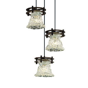 Veneto Luce™  Dark Bronze Three-Light Pendant with Lace Glass
