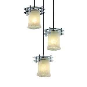 Veneto Luce™  Matte Black Three-Light Pendant with Whitewash Glass