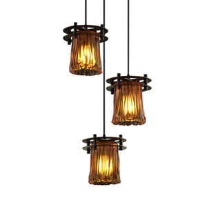 Veneto Luce™  Matte Black Three-Light Pendant with Amber Glass