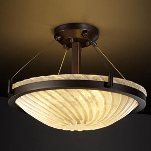 Veneto Luce 18-Inch Round 3000 Lumen LED Semi-Flush Mount with Ring