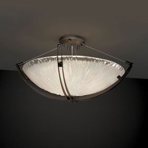 Veneto Luce Crossbar Six-Light Dark Bronze 5000 Lumen LED Semi-Flush Mount With Crossbar