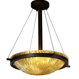 Veneto Luce Dark Bronze Three-Light 18-Inch Round Bowl Pendant with Amber Glass and Ring