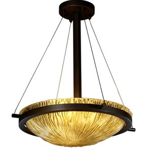 Veneto Luce Dark Bronze LED 18-Inch Round Bowl Pendant with Amber Glass and Ring
