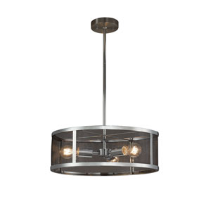 Wire Mesh - Wire Mesh Polished Chrome Three-Light Drum Pendant with Black Wire Mesh