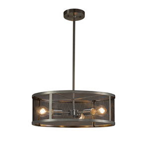 Wire Mesh - Wire Mesh Brushed Nickel Three-Light Drum Pendant with Black Wire Mesh