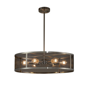 Wire Mesh - Wire Mesh Brushed Nickel Six-Light Drum Pendant with Black Wire Mesh