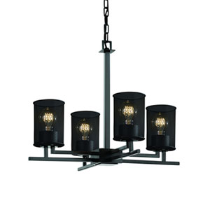 Wire Mesh™  Matte Black Four-Light Chandelier