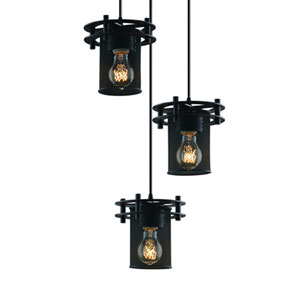 Wire Mesh™  Matte Black Three-Light Pendant with 6.5-Inch Shades