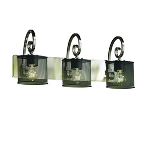 Wire Mesh™  Dark Bronze Three-Light Bath Sconce