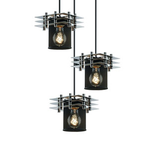 Wire Mesh™  Polished Chrome Three-Light Pendant