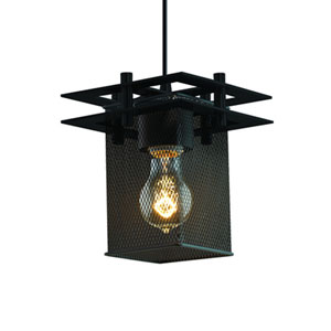 Wire Mesh™  Matte Black 6.5-Inch One-Light Mini Pendant with Cube Shade
