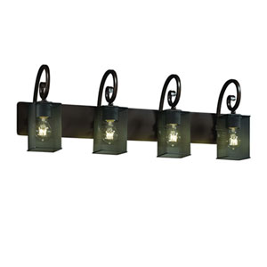 Wire Mesh™  Matte Black Four-Light Bath Sconce