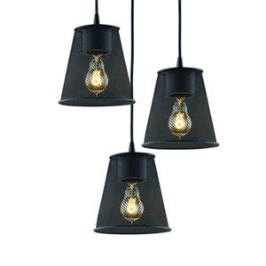 Wire Mesh™  Matte Black Three-Light Pendant with 4-Inch Flared Shades