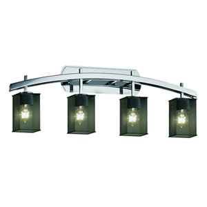 Wire Mesh™  Polished Chrome Four-Light Bath Sconce