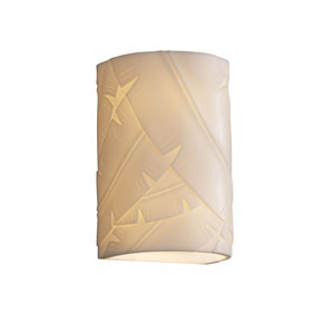 Porcelina Wall Sconce Small CylinderTwo-Light Faux Porcelain Open Top and Bottom Wall Sconce