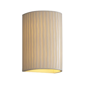 Porcelina Wall Sconce Large CylinderTwo-Light Faux Porcelain Open Top and Bottom Wall Sconce