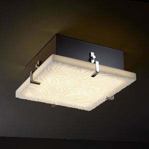 Porcelina Clips 12-Inch Two-Light Fluorescent Matte Black Square Flush-Mount