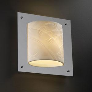 Porcelina Framed Square Four-Sided Fluorescent Polished Chrome Wall Sconce