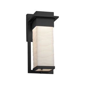 Porcelina - Pacific Matte Black 12-Inch LED Outdoor Wall Sconce with Off-White Wavy Faux Porcelain Resin