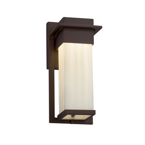 Porcelina - Pacific Dark Bronze 12-Inch LED Outdoor Wall Sconce with Off-White Waterfall Faux Porcelain Resin